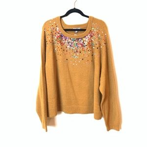 ASOS: glittered mustard loose fit sweater